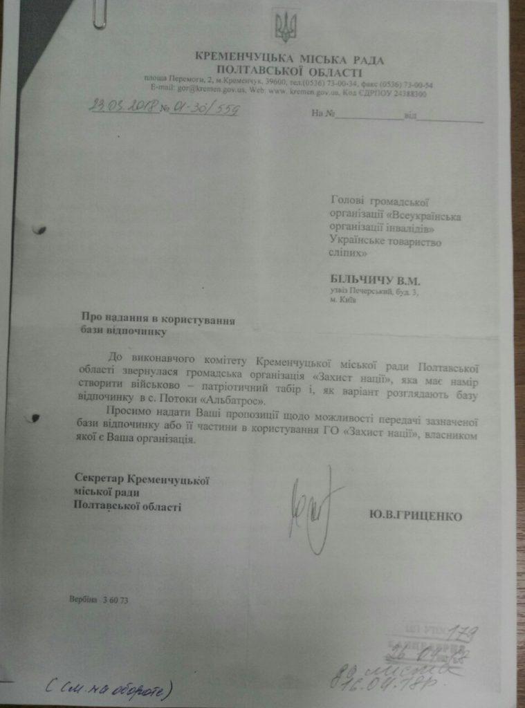 Лист Кременчуцької міської ради до ЦП УТОС